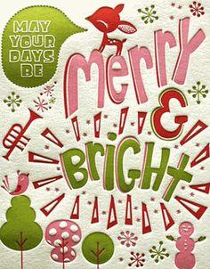 letterpress merry bright bright ideas deck