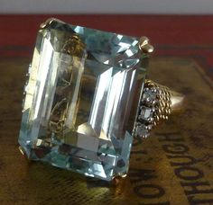 Art Deco 30ct Emerald Cut Aquamarine & Diamond 14ct Ring
