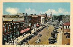 Charlottetown Prince Edward Island Canada 1930s Town Queen Street North Postcard