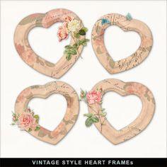 New 4 Freebies Vintage Flower Style Heart Frames