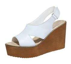 TandMates Women's Peep-Toe Slingback Velcro Wedges Heel Leather Sandals *** You can find out more details at the link of the image.