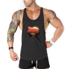 Promo Supermen gym tank tops men Bodybuilding GOLD VEST FIGHTING Tank Top Athletc GYM vest for Men. Click visit to check price