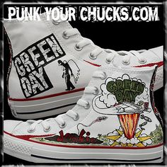 Green Day Custom Hand Painted Converse Sneakers by MAGCustoms