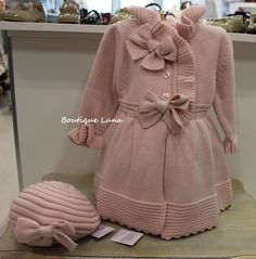 Absolutely Beautiful pink Knit girls dress coat with matching hat Baby Girl Patterns, Kids Patterns, Baby Knitting Patterns, Baby Kids Clothes, Doll Clothes, Baby Girl Fashion, Kids Fashion, Baby Coat, Embroidery Fashion