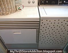 How I Transformed My Washer and Dryer for $20  mythriftstoreaddiction.blogspot.com  Stripes and dots decals add glam to boring appliances!