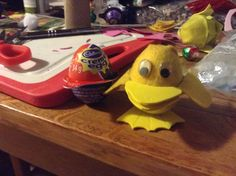 Original Undecorated Easter Cream Egg, beside my covered ducky egg. Creamed Eggs, Egg Crafts, Bunny, Easter, How To Make, Rabbit, Easter Activities, Rabbits, Baby Bunnies