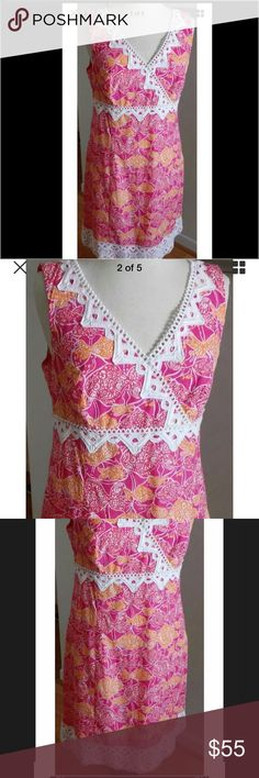 Lilly Pulitzer Jubilee red and orange dress. Luv luv luv this dress. Lilly Pulitzer Jubilee red and orange dress with lace !                                                     Lilly Pulitzer Jubilee Dress Size 12. Excellent condition !!! Even prettier in person!! Armpit to armpit is ability 16 3/4. Waist is about 16 and from top of dress to bottom is 37. Lilly Pulitzer Dresses Midi