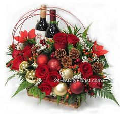 christmas flower designs | Christmas wine and flowers | Christmas Floral & Wreath Designs