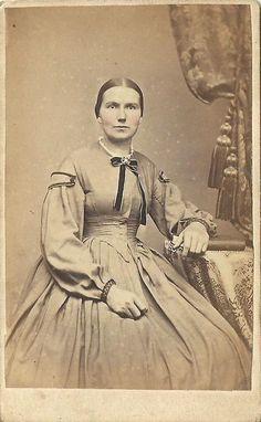 CDV Photo Lovely Woman Seated in Large Hoop Dress Tax Stamp Civil War Era  Reading PA | eBay; neck ribbon