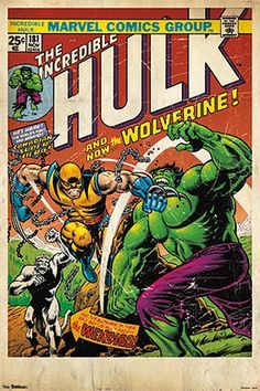 Incredible Hulk #181 (Wolverine's Debut, Nov. 1974) Official Marvel Comic Book Cover Poster Reprint -  available at www.sportsposterwarehouse.com