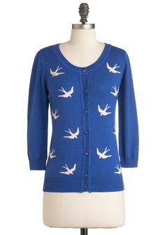 Birdlandia Cardigan - Blue, White, Buttons, Knitted, Casual, Long Sleeve, Mid-length, Cotton, Button Down
