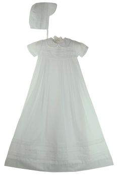 NEW Petit Ami White Christening Gown with Pintucks and Embroidery and Matching Hat $100.00