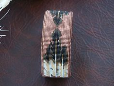 Native American Beaded Feather Copper Cuff Bracelet