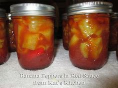 Welcome to Kat's Canning Tidbits I hope you enjoy your visit!: Banana Peppers in Red Sauce Canned Banana Peppers Recipe, Sweet Banana Peppers, Stuffed Banana Peppers, Stuffed Sweet Peppers, Hot Peppers In Oil Recipe, Canning Banana Peppers, Pickled Banana Peppers, Ketchup Canning Recipe, Canning Recipes