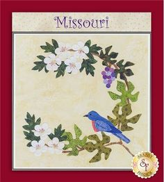 """American Album Block - Missouri: New from Pearl P. Pereira! The American Album Blocks series is inspired by the Baltimore Album style and the beauty and history of each of the fifty states of the USA. Each block finishes to 15"""" square."""