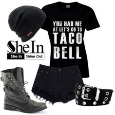 SheIn Black Ripped Shorts
