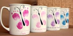 Custom made mugs from your child's actual footprints! Baby's first footprints have never looked more precious than on a Forever Prints keepsake! Choose from mugs, plates, plaques and more: myforeverprints.com