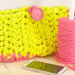 Neon Summer Crochet Clutch With T-Shirt Yarn