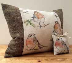 Today we have been making up robin and tweed cushions.this horrible weather is obviously making people want to snuggle up on the sofa with warm, comforting textures! These lovely robins are very snuggly indeed. Sofa Blanket, Throw Pillows, Cushion Covers, Pillow Covers, Sewing Crafts, Sewing Projects, Free Motion Embroidery, Presents For Friends, Vintage Country
