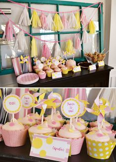 {Pink & Yellow} Polka Dots and Pinwheels First Birthday