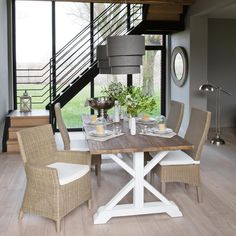 Mesa de comedor con listones de madera reciclada An. 200cm Sologne | Maisons du Monde