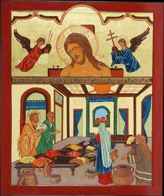 """Icona Preparativi per la cena pasquale-""""A lui la gloria ora e nel nel giorno dell'eternità""""(2Pt 3,18)"""