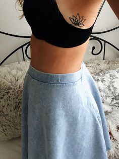Small Simple Lotus Flower Rib Tattoo Ideas for Women - Black Henna Side Tat - MyBodiArt.com