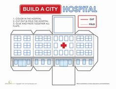 Second Grade Paper Projects Places Worksheets: Build a City: Hospital