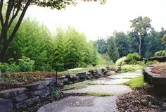 Natural Garden Pathway, Rock Wall & Bamboo Garden in Bergen County, NJ: This natural blue stone garden pathway and Pa. colonial boulder retaining wall is complemented by Phyllostachys aureosulcata (yellow groove bamboo). Urban Garden Design, Bamboo Landscape, Landscape Fabric, Garden Borders, Garden Paths, Landscaping With Rocks, Garden Landscaping, Rock Wall Gardens, Boulder Retaining Wall