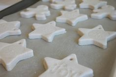 How to Make Salt Dough Ornaments I like this recipe I think the oven heat should be bumped up a to 250 F depending on how hot your oven gets!