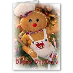 Happy Holidays Gingerbread Man Greeting Card