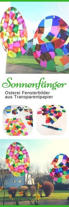 Suncatcher basteln mit Kindern: Ostereier aus Transparentpapier Easter crafts with children: These sun catcher Easter eggs made of tracing paper are made quickly and easily [. Kids Crafts, Easter Crafts, Diy And Crafts, Stick Crafts, Summer Crafts, Easter Ideas, Fall Crafts, Christmas Crafts, Sun Catchers