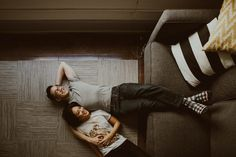 At Home Session in Downtown LA: It was a lazy afternoon, slow enough for light to change it's patterns on the walls, & nowhere to be but with each other. Couple Photoshoot Poses, Couple Photography Poses, Couple Shoot, Lifestyle Photography, Photography 101, Pre Wedding Poses, Pre Wedding Photoshoot, Home Photo Shoots, Anniversary Photos