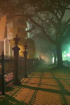 paolettazza: Foggy Night, New Orleans, Louisiana, at Blue Pueblo | via Tumblr su We Heart It - http://weheartit.com/entry/97667486