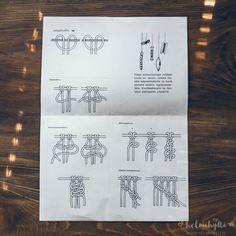 Helmihytti: DIY – Macrame curtains with asymmetrical vine pattern – English translation Macrame Wall Hanging Patterns, Macrame Plant Hangers, Macrame Art, Macrame Projects, Macrame Patterns, Macrame Knots, Leaf Curtains, Diy Curtains, Crafts To Do