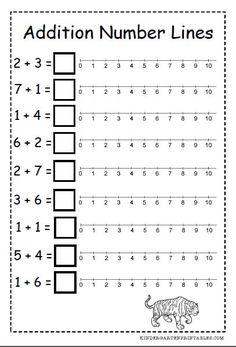 Number Line addition worksheets free printables number line addition worksheets Kindergarten Addition Worksheets, Numbers Kindergarten, Free Kindergarten Worksheets, 1st Grade Worksheets, Kindergarten Learning, Number Worksheets, Teaching, Free Printable Math Worksheets, Free Printables