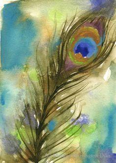 Original Watercolor Painting - Peacock Feather - 5x7 - Bird Art by DustyShamrockStudio on Etsy