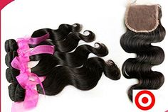 Junhair 4Pcslot Body Wave Virgin Philippines Remy Human Hair 3 Pcs Hair Weaves Mixed Length With 1Pc 4x4 Closure Natural Color trademarkDaJun *** Want additional info? Click on the image.(This is an Amazon affiliate link and I receive a commission for the sales)