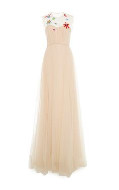 Flower Applique Tulle Gown by DELPOZO for Preorder on Moda Operandi