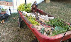 Fairy Garden In A Radio Flyer Red Wagon Fairy Gardens