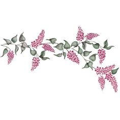 The multiple layers of the sweet and delicate Lilacs Ferns Floral and Vine Flower Stencil allows you to easily paint a realistic wall mural of romantic flowers and flowing leaves. - Details - Stencil