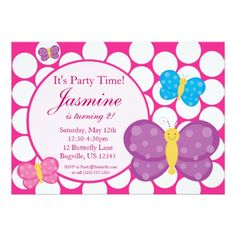 Pink Polka Dot Butterfly Birthday Party Invitation This site is will advise you where to buyDiscount Dealslowest price Fast Shipping and save your money Now! Birthday Party Invitations, Birthday Party Themes, Baby Shower Invitations, 5th Birthday, Butterfly Birthday Party, Mermaid Birthday, Butterfly Fairy, Blue Polka Dots, Party Time