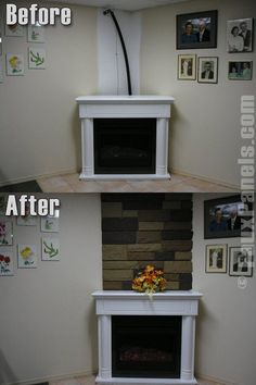 Artificial stone veneer siding is the perfect touch to finish this corner fireplace and conceal unsightly cables