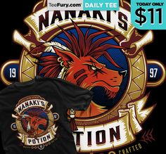 """DAILY TEE """"Nanaki's Potion"""" by Nemons is avaialble right now for $11 on #TeeFury!"""