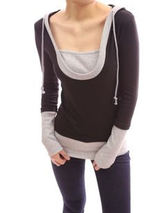 PattyBoutik Stunning 2-in-1 Hoodie Casual Blouse Top (Black and Grey S) - http://www.immmb.com/women-clothing/pattyboutik-stunning-2-in-1-hoodie-casual-blouse-top-black-and-grey-s.html/
