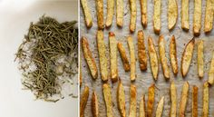 Rosemary fries with roasted garlic dip - Lazy Cat Kitchen Veg Dishes, Potato Dishes, Vegetable Dishes, Side Dishes, Vegan Snacks, Vegan Recipes, Vegan Ideas, Vegan Foods, Vegan Dinners