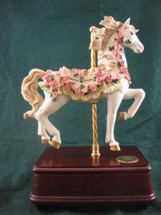 REDUCED~San Francisco Music Box Victorian Rose Carousel Horse Music Box