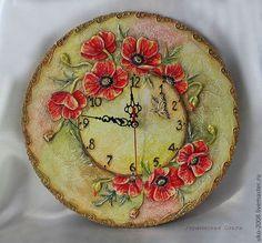"""Часы для дома ручной работы. Ярмарка Мастеров - ручная работа. Купить Объемные часы """"Маков цвет"""". Handmade. Ярко-красный"""