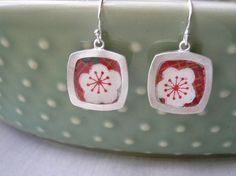 Reversible Chiyogami Earrings - Square - red and blue plum flower. $38,00, via Etsy.