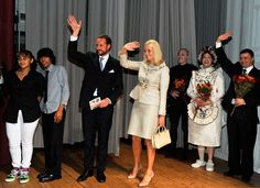 """Crown Princess Mette-Marit of Norway Photos Photos - Crown Prince Haakon (C) and Crown Princess Mette-Marit of Norway attend the children's opera """"Max and Moritz"""" at the Lower Manhattan Arts Academy on October 28, 2010 in New York City. - Crown Prince Haakon & Crown Princess Mette-Marit Of Norway Visit New York City - Day 1"""